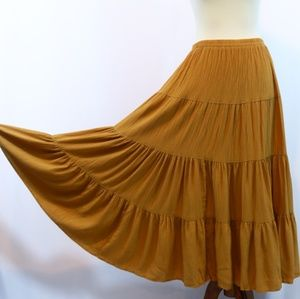 Karen Kane Mustard Yellow Boho Tiered Maxi Skirt